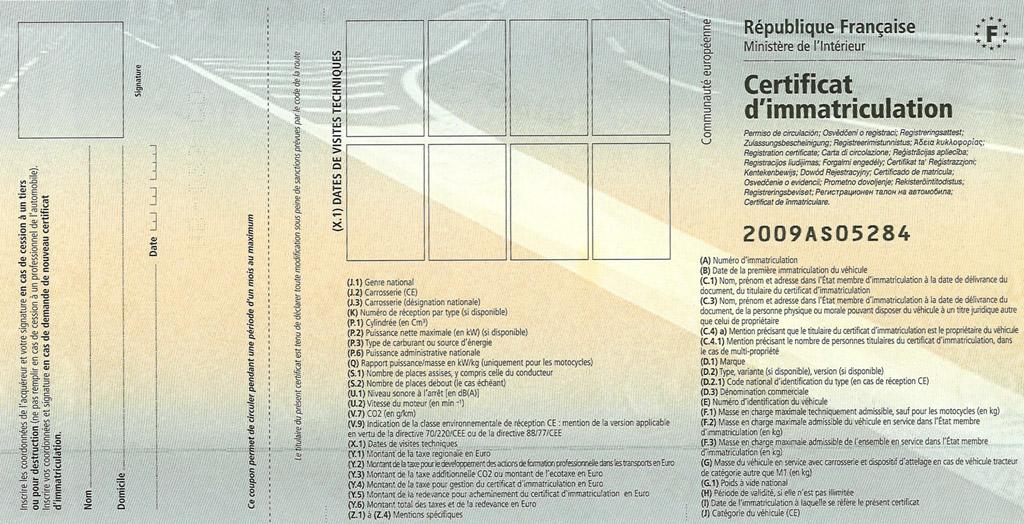 comprendre sa carte grise Comprendre un certificat d'immatriculation, comment comprendre une